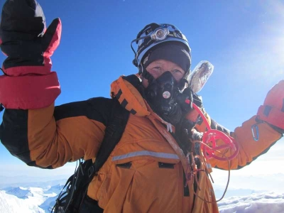 Adele Pennington Summits Lhotse in a PHD Omega Down Suit