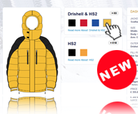 screenshot of PHD Design Your Own Down Jacket Website