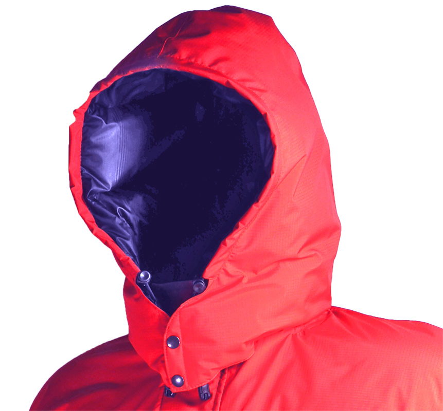 Icefall Down jacket (showing detachable hood)