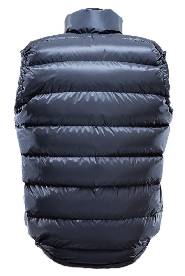 Ultra Down Vest: K Series. Back view showing drop tail.