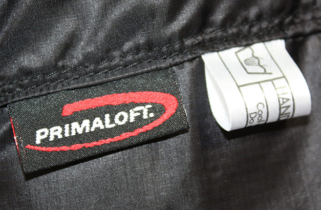 Primaloft label in Alpha Belay Jacket