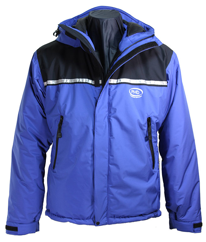 Zeta Belay Jacket with hood down
