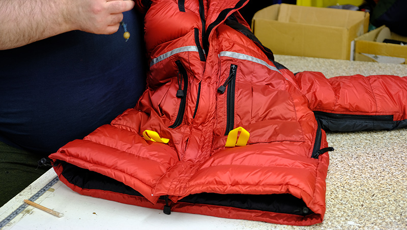 Making a down jacket in our UK workshop