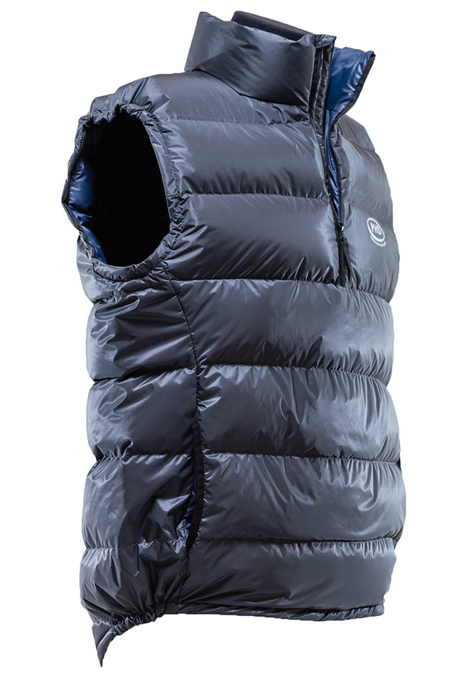 Ultra Down Vest: K Series. Side view showing drop tail.