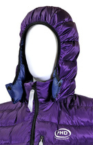 In Purple Ultrashell fabric with optional hood.