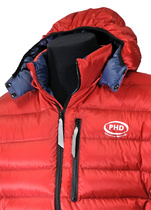 In red Ultrashell fabric with optional hood