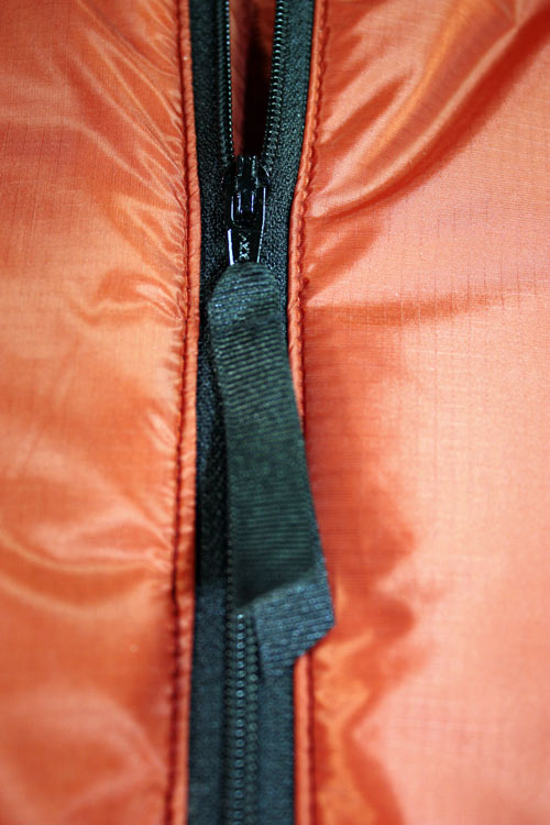 Sigma Primaloft Jacket, in Burnt Orange Ultrashell (zip detail)
