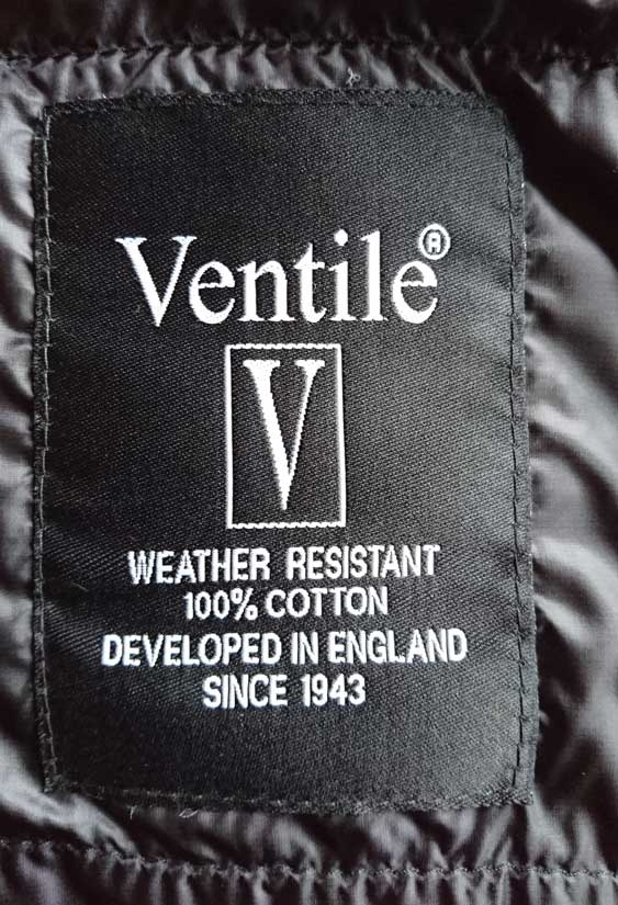 Ventile label (inside jacket)