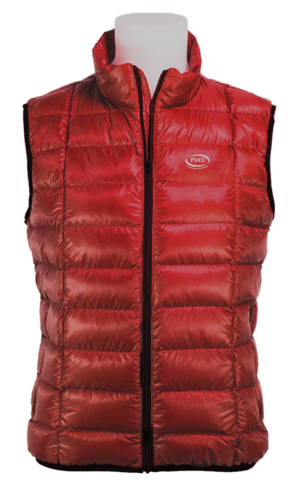 Wafer Down Vest in red Ultrashell