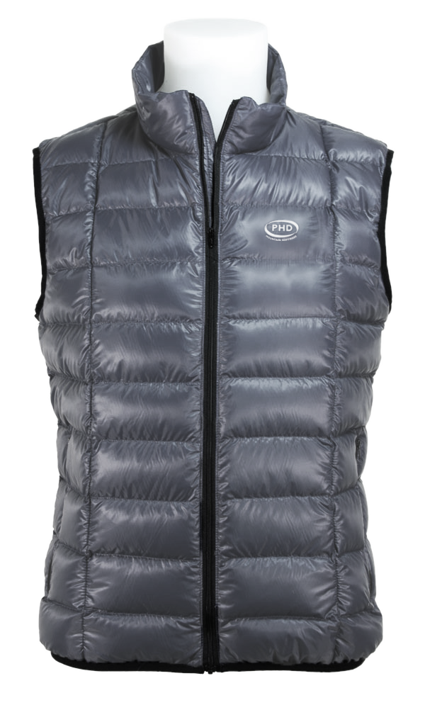 Wafer Down Vest in charcoal Ultrashell