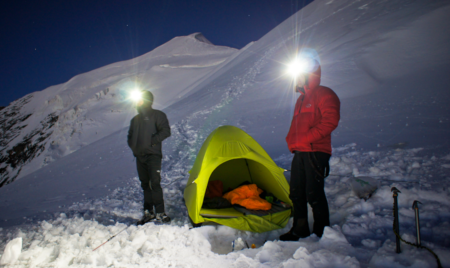 Hispar 500 down sleeping bag at 3600m, Weissmies, Switzerland (photo: Paul Daly)