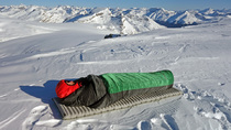 Marcus Baranow using Xero half bag in Wapta Icefields, Canada. Temps were -20C at this open air camp.