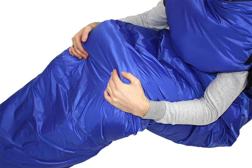 Zeta Synthetic Bivvy Sleeping Bag - showing armholes.